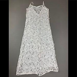 White knit appliqué dress
